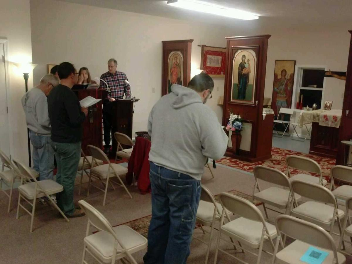 Worshippers at vesper service at Carbondale's new Orthodox Church