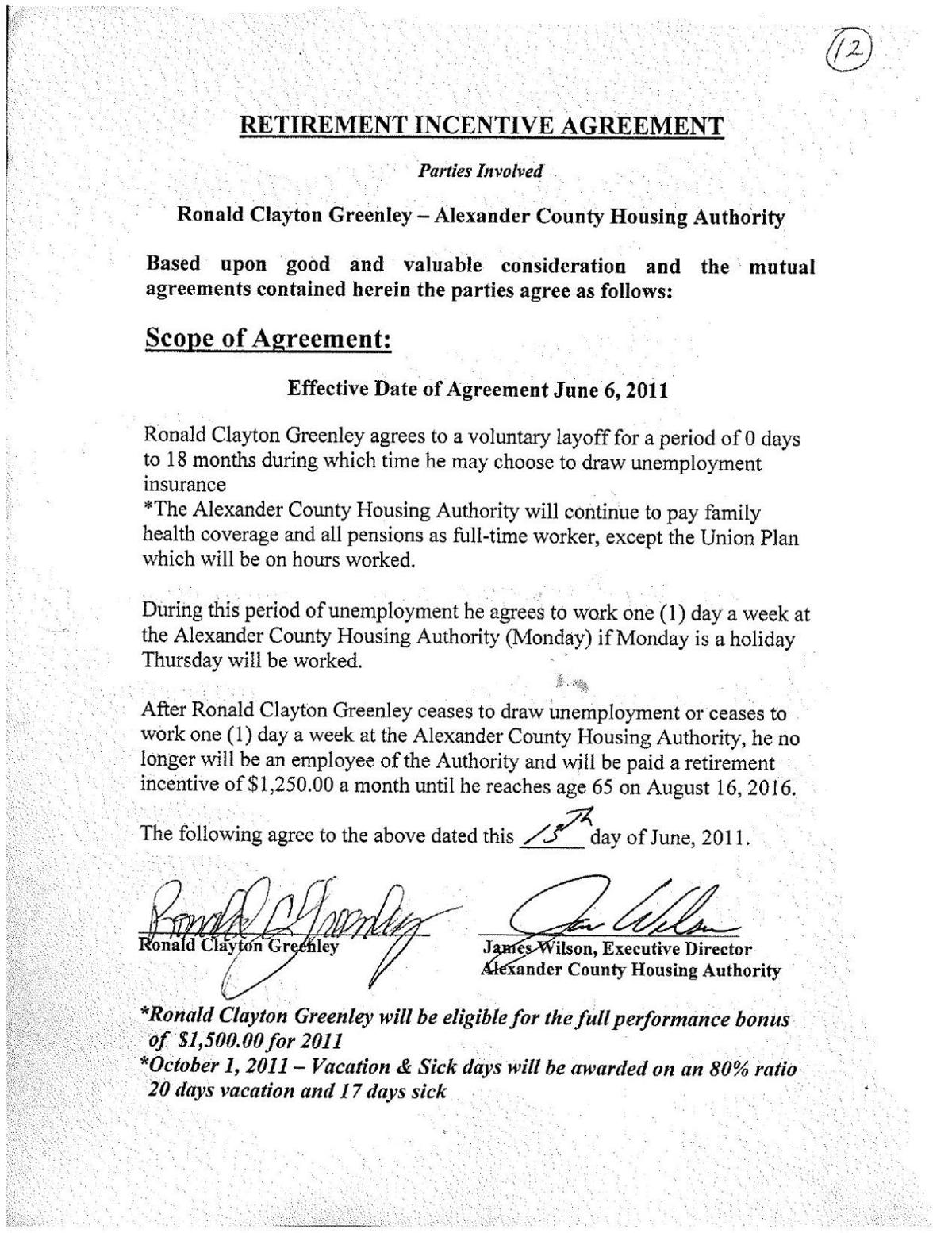Ronald Clayton Greenley Retirement Contract Thesouthern