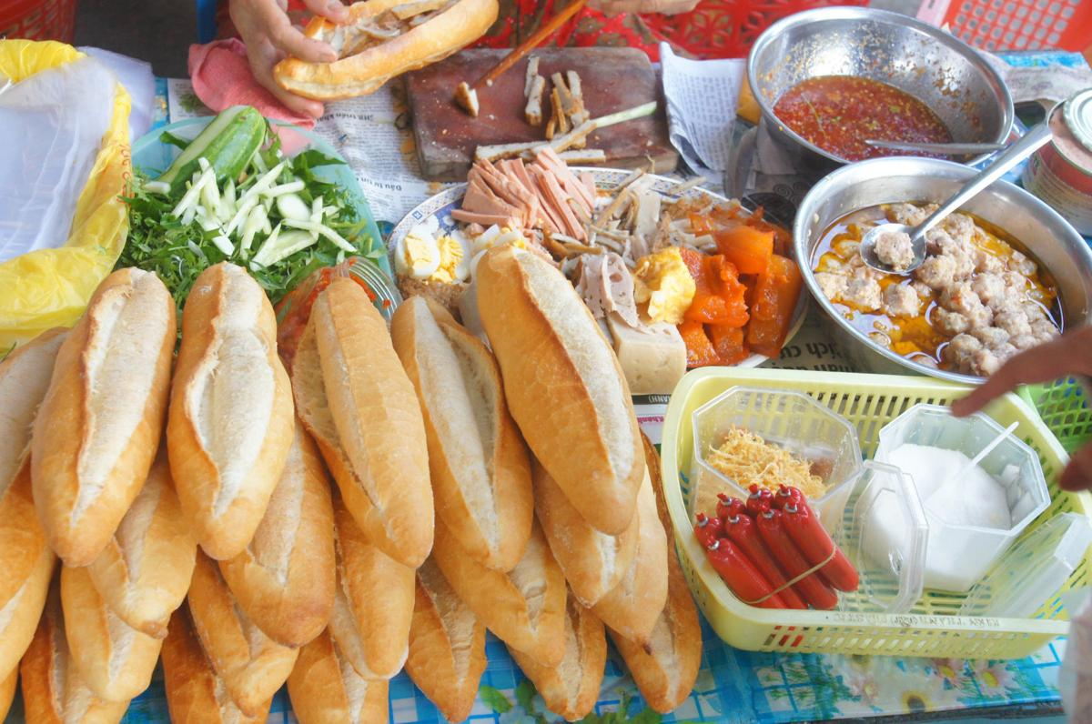 Vietnamese bread stall with lot of stuffed things