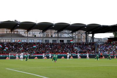 Players from the Republic of Ireland take a knee in support of the Black Lives Matter movement prior to an international friendly against Hungary at Szusza Ferenc Stadion on Tuesday, June 8, 2021 in Budapest, Hungary.