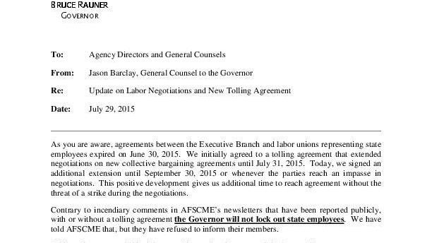 Pdf Update On Labor Negotiations And New Tolling Agreement