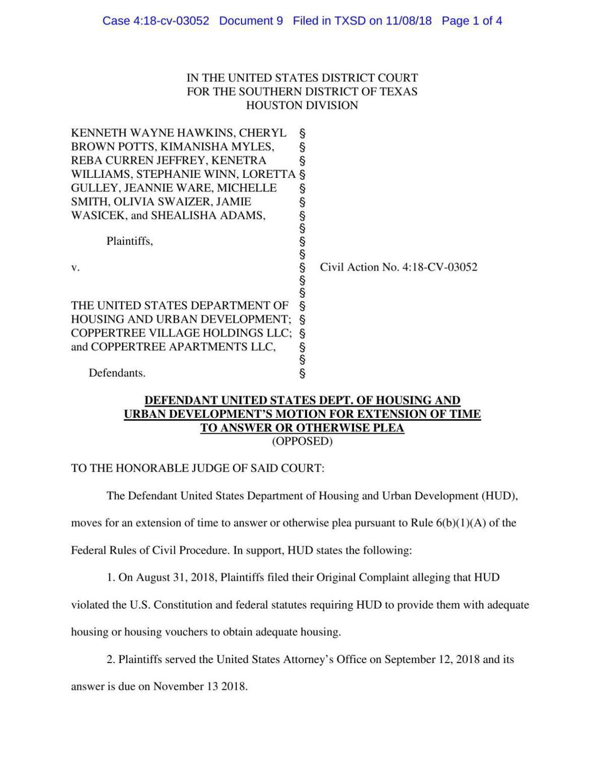 HUD response to Coppertree lawsuit.pdf