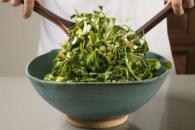 Food Column ATK Pea Green Salad with Warm Apricot Pistachio Vinaigrette
