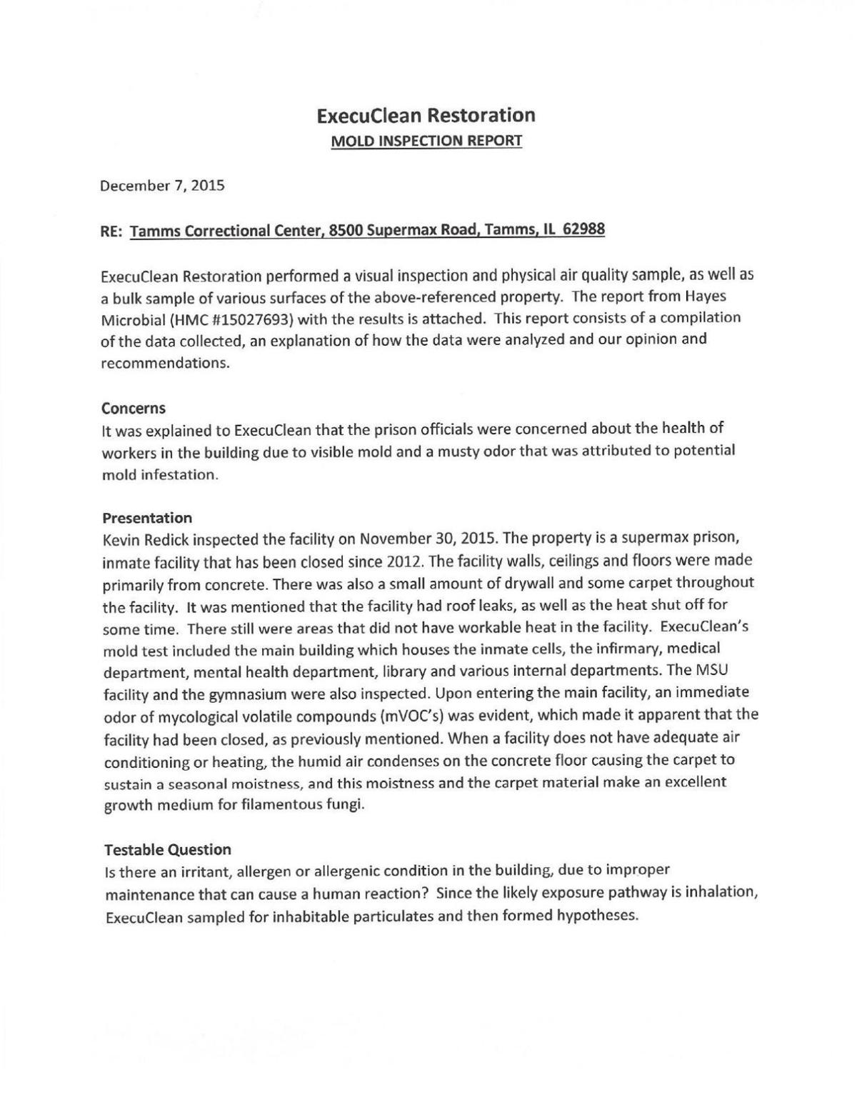 See the document: ExecuClean Mold Report for Tamms prison