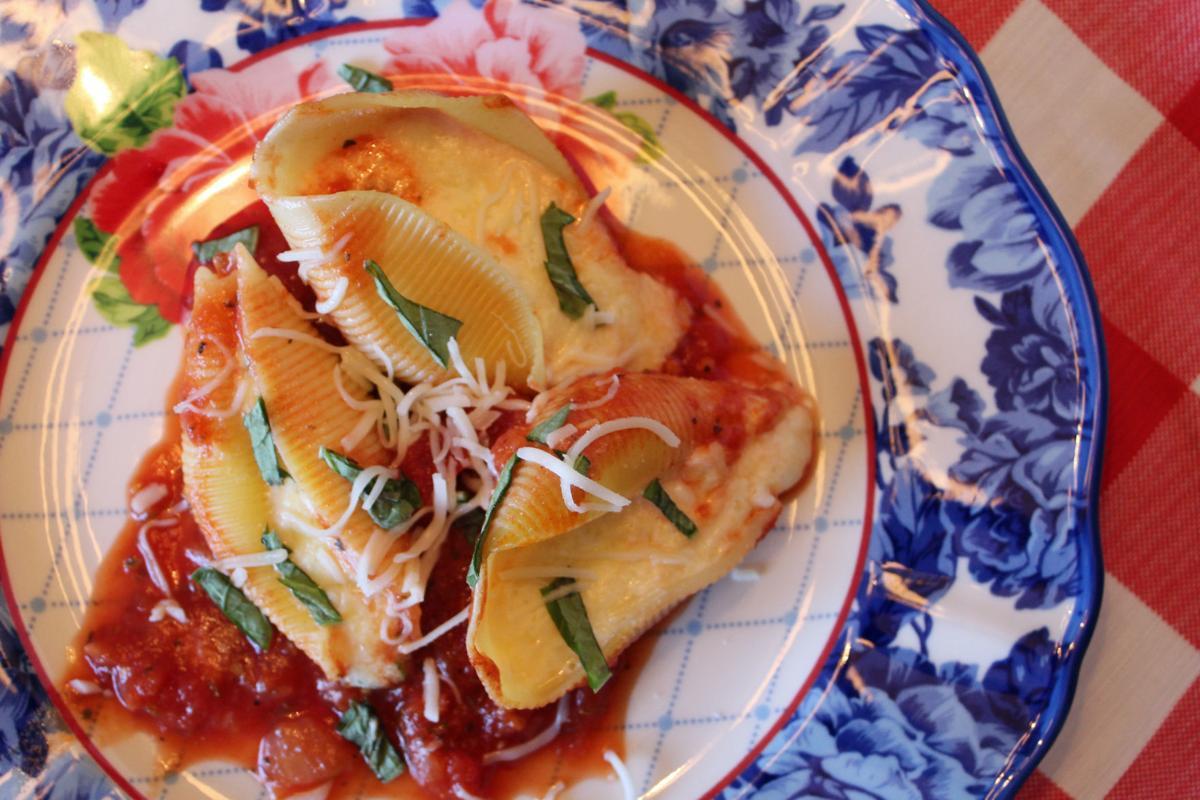 Recipe   Three-Cheesy Spinach Stuffed Shells with Spicy Marinara