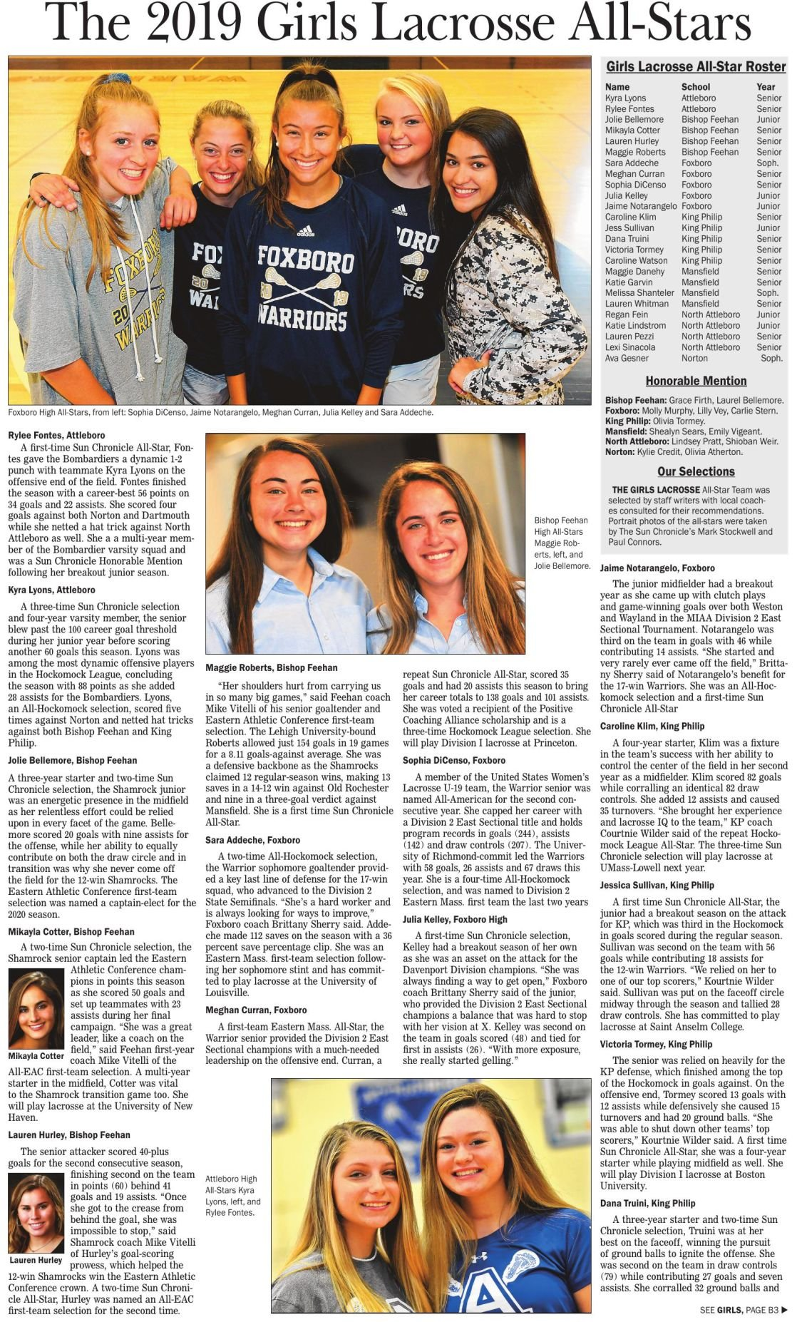 The Sun Chronicle 2019 Girls Lacrosse All-Stars 1