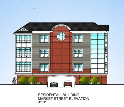 King Builders rear apartment building with Market Street parking entrance