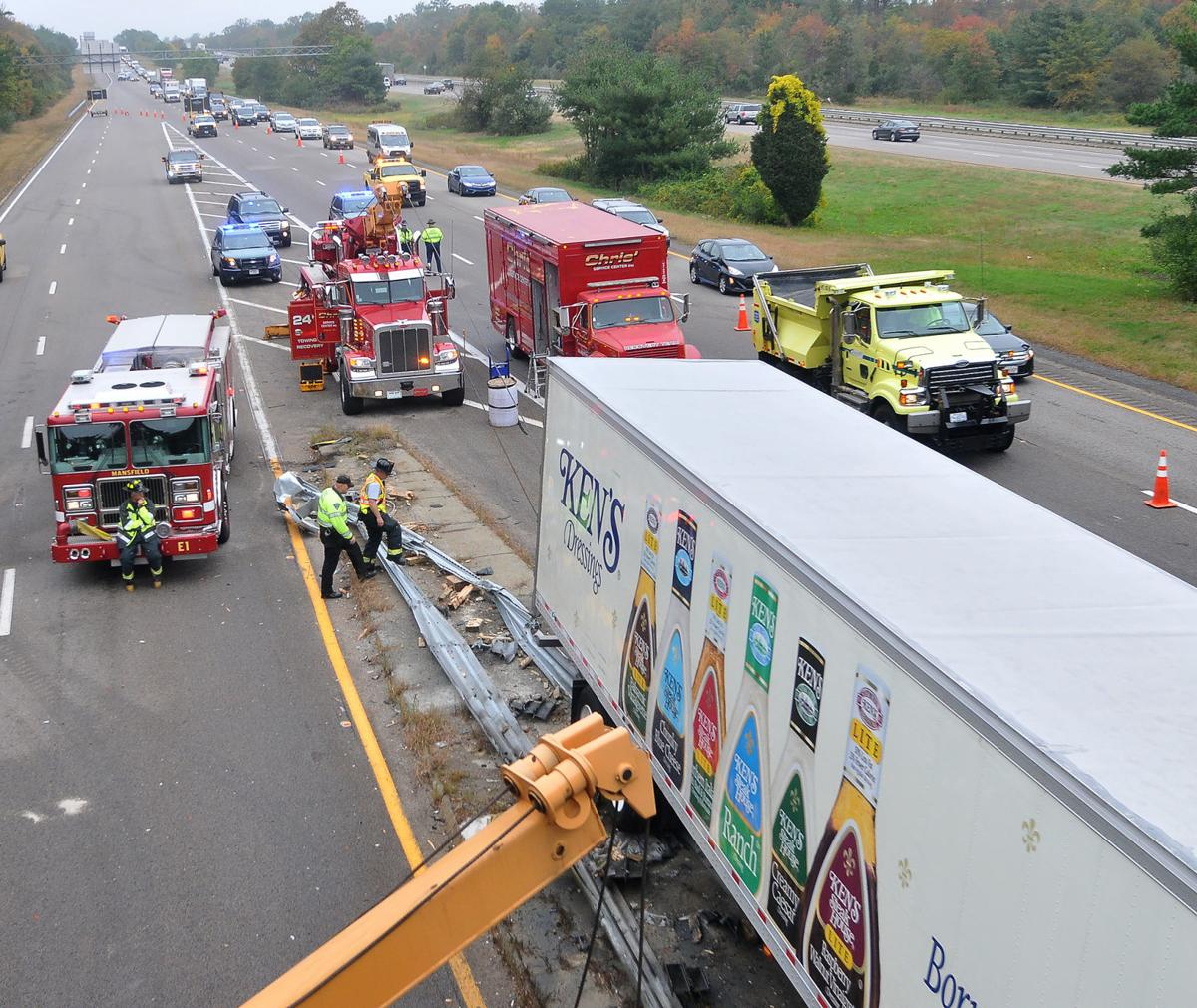 Tractor-trailer hits abutment on I-495 in Mansfield, causes massive