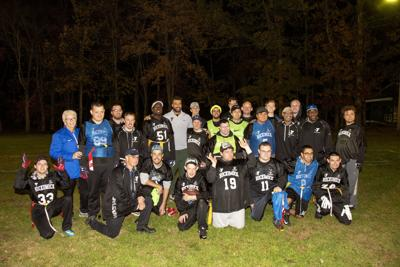 Hockomock Area YMCA Unified Flag Football Teams with 2019 Legends  Ball Honoree Kyle Van Noy (copy)