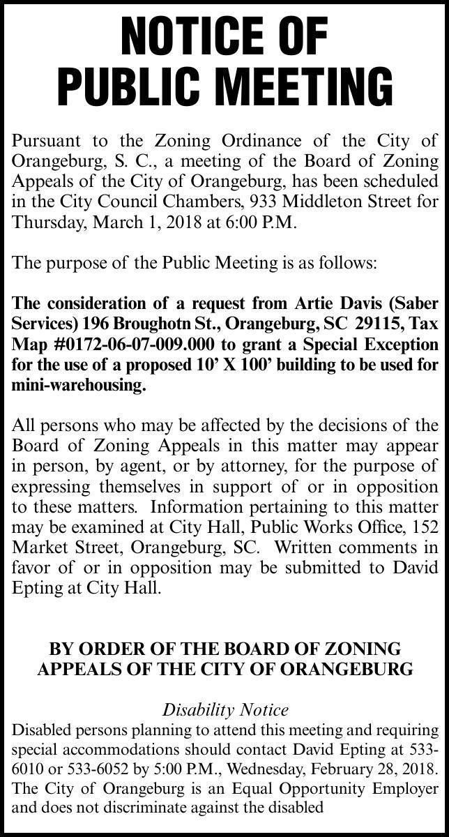 City of Orangeburg Notice/FA