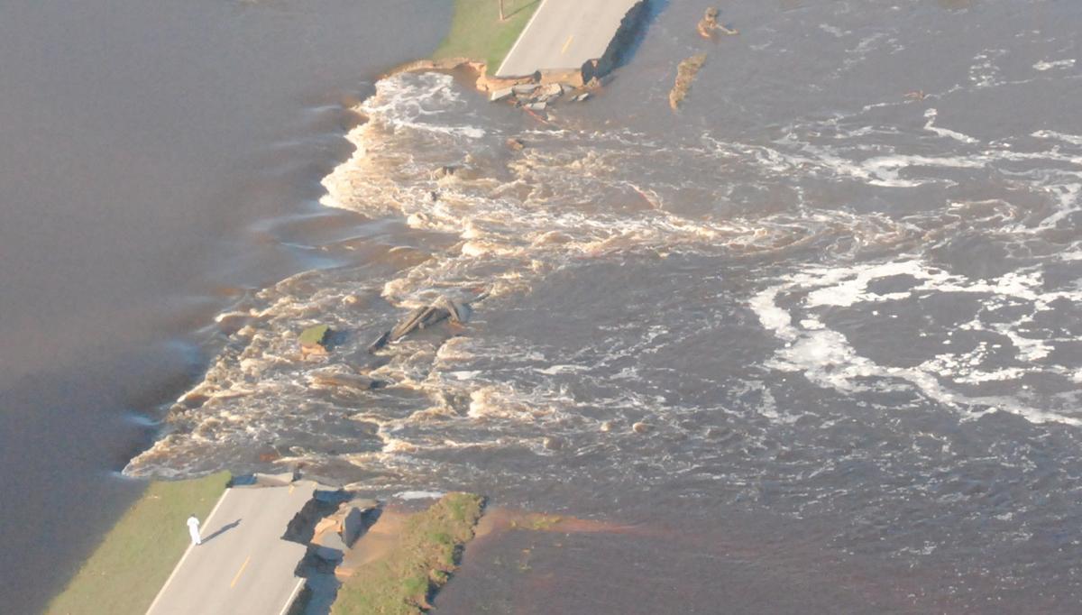Burst dam