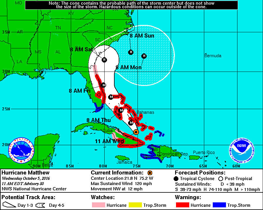 Hurricane Matthew as of 11 a.m. Wednesday