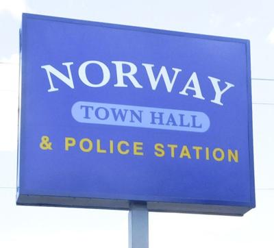 LIBRARY norway town hall sign