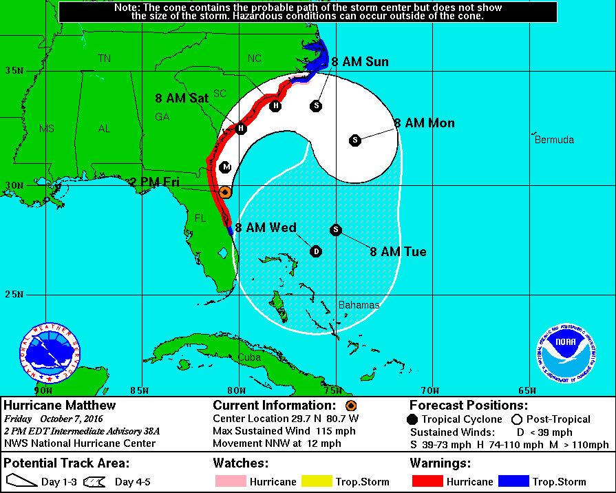 Hurricane Matthew as of 2 p.m. Friday