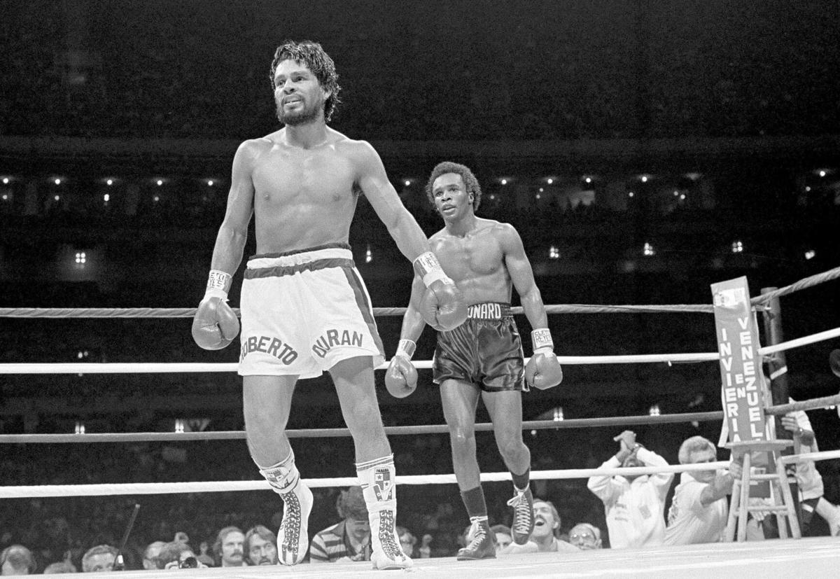 1980: Roberto Duran quits in 8th round of welterweight title fight against Sugar Ray Leonard