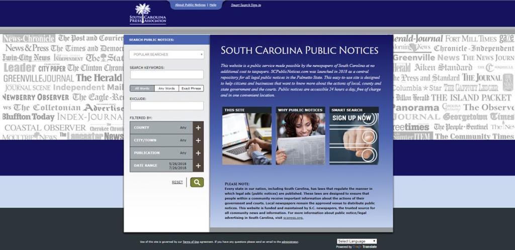 S C  newspapers launch public notice website | Local