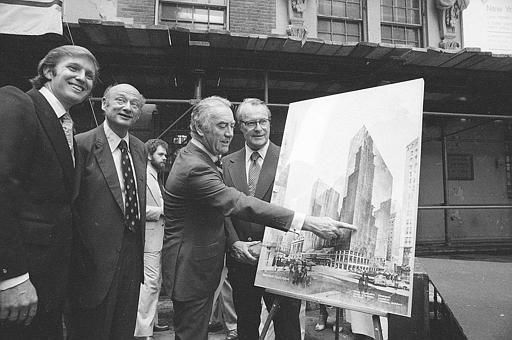 Donald Trump, Ed Koch, Hugh Carey and Robert T. Dormer, 1978