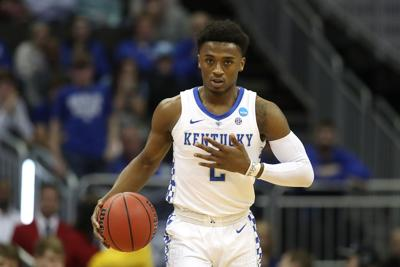 Ashton Hagans of Kentucky brings the ball up against Houston during the NCAA Tournament Midwest Regional at Sprint Center in Kansas City, Mo., on March 29, 2019.