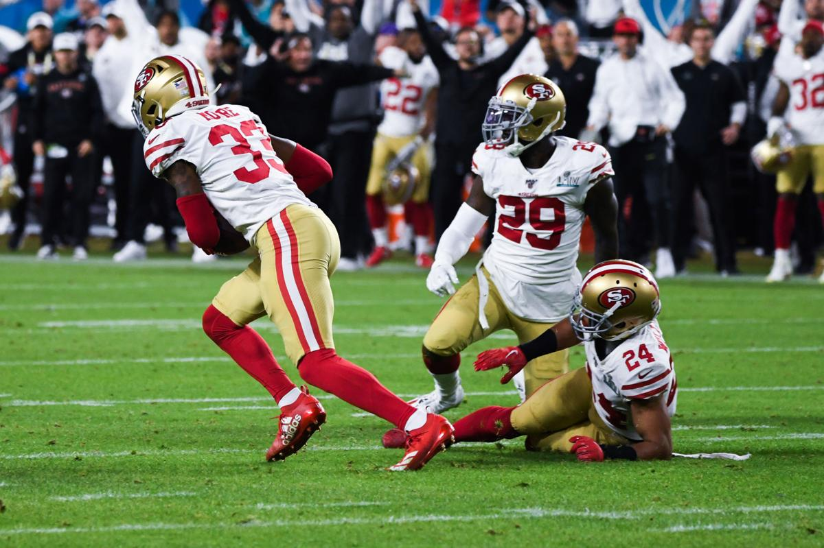 San Francisco 49ers (33) safety Tarvarius Moore intercepts a pass during the fourth quarter of Super Bowl LIV between the San Francisco 49ers and the Kansas City Chiefs held at Hard Rock Stadium in Miami Gardens, FL on Feb. 2, 2020.