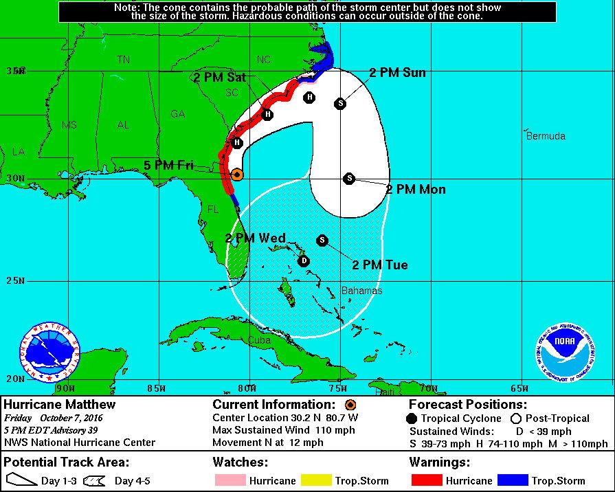Hurricane Matthew as of 5 p.m. Friday