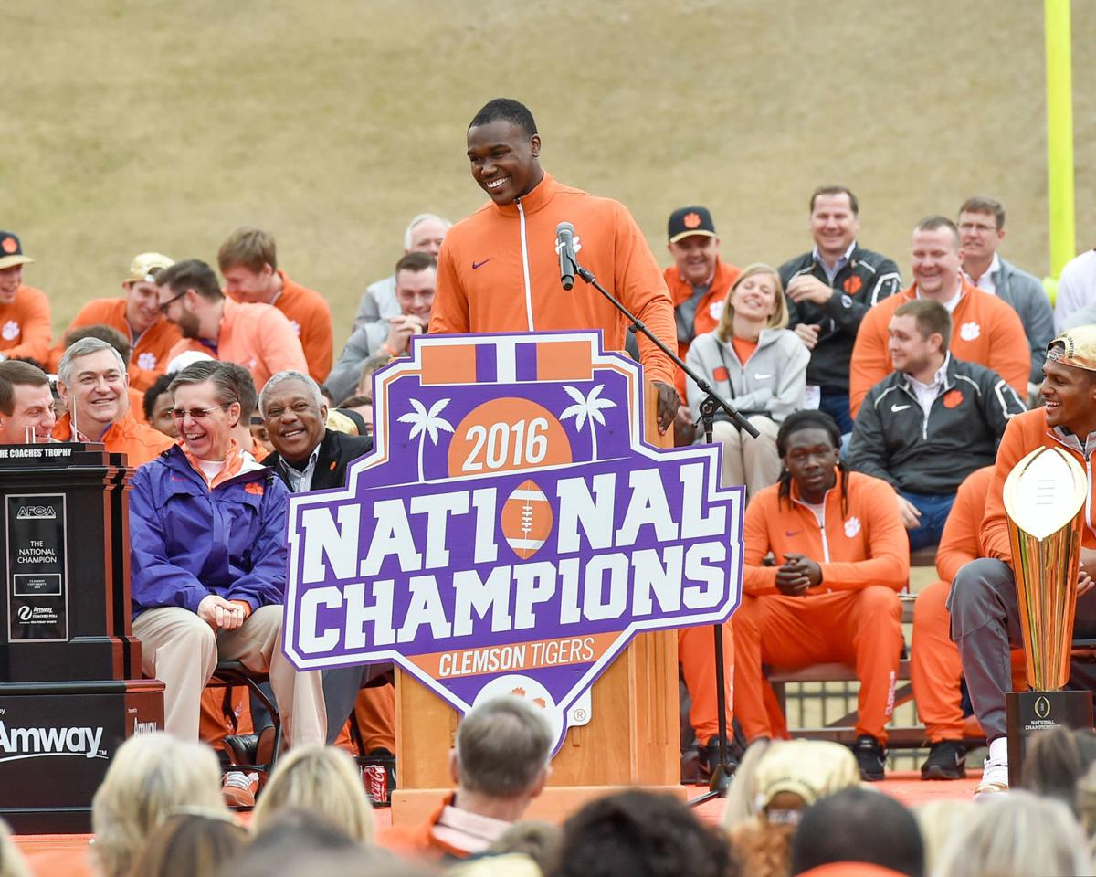 Jadar Johnson speaks at Clemson national title celebration