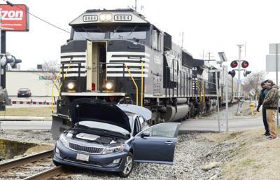 Train hits car
