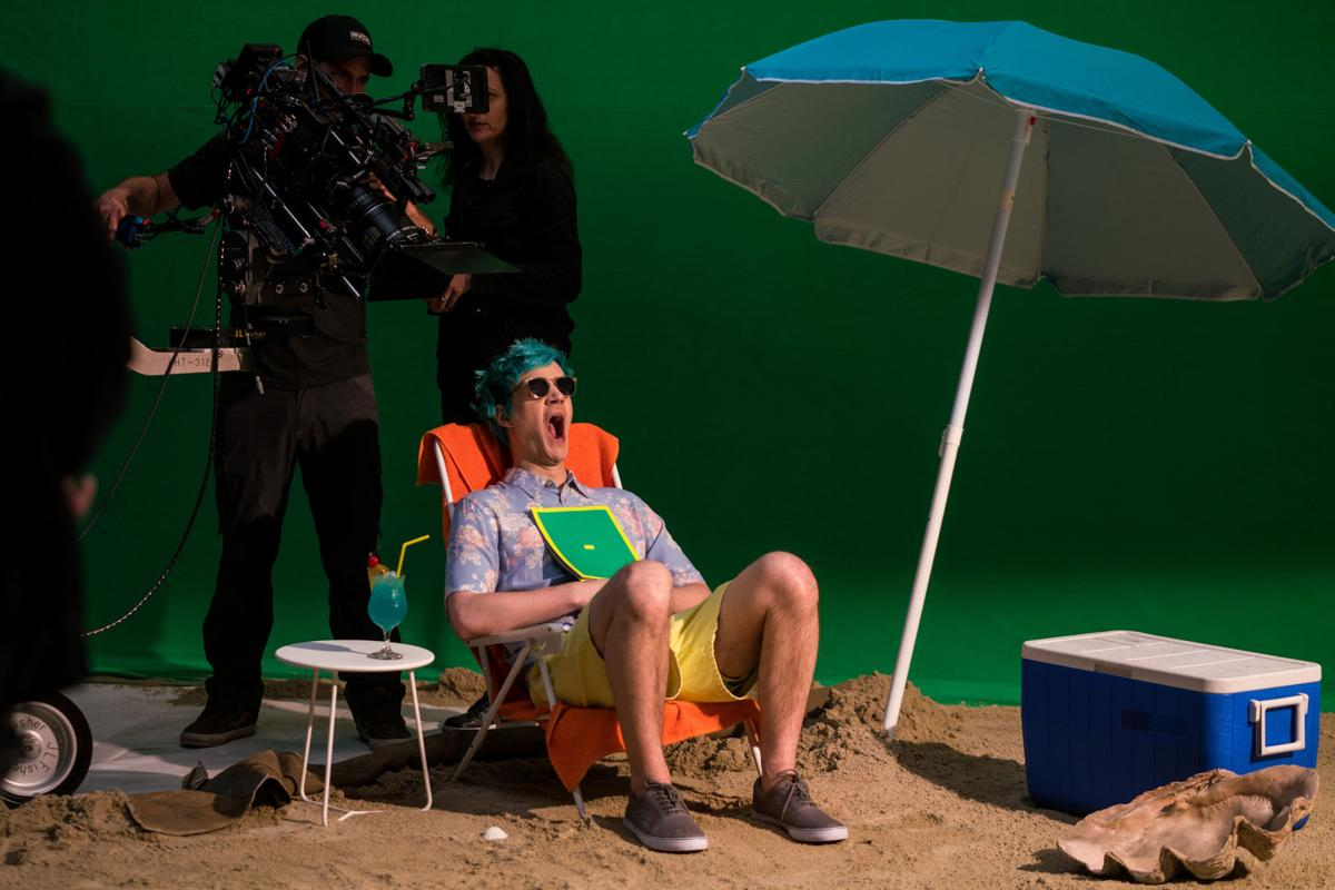 """Tyler Blevins known as the immensely popular game streamer """"Ninja,"""" films a commercial for Samsung at Thunder Studios on Thursday, April 11, 2019 in Long Beach, Calif."""