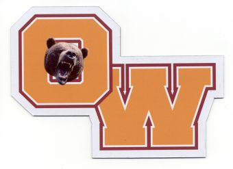 O-W letters logo with bruin