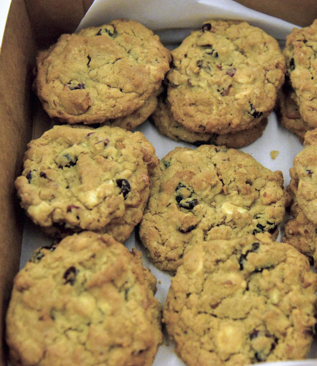 White Chocolate-oatmeal-cranberry cookies