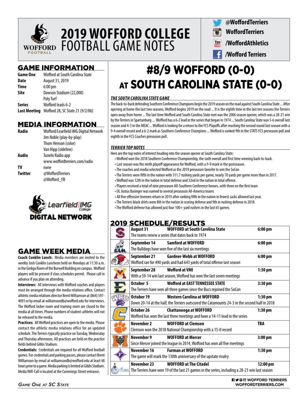 Wofford vs. S.C. State game notes