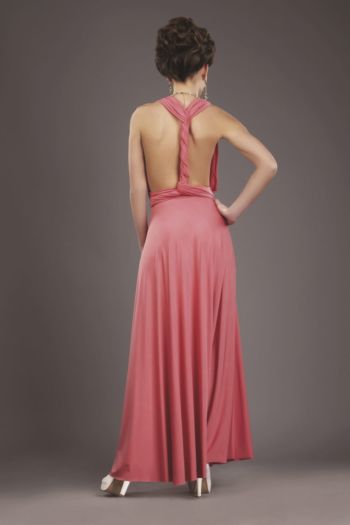 Rear View of Lady in Evening Gown