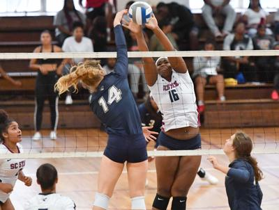 SC State volleyball gets a block