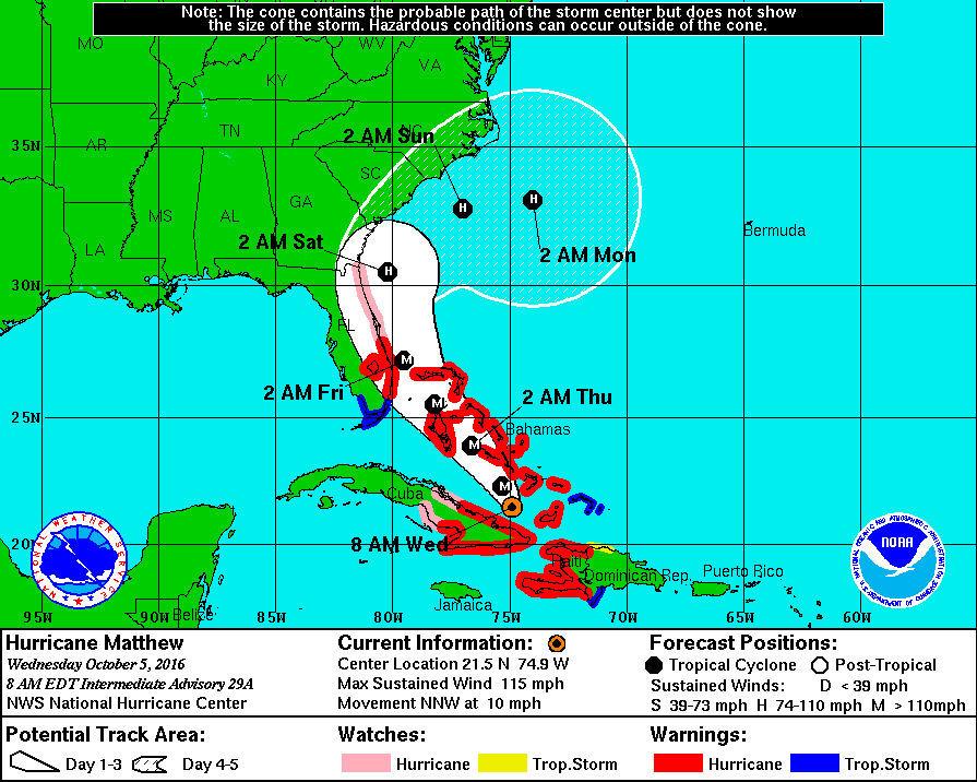 NOAA Hurricane Matthew as of 8 am Wednesday