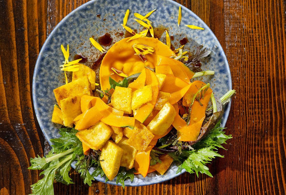 Pumpkin sformato with fattoush salad