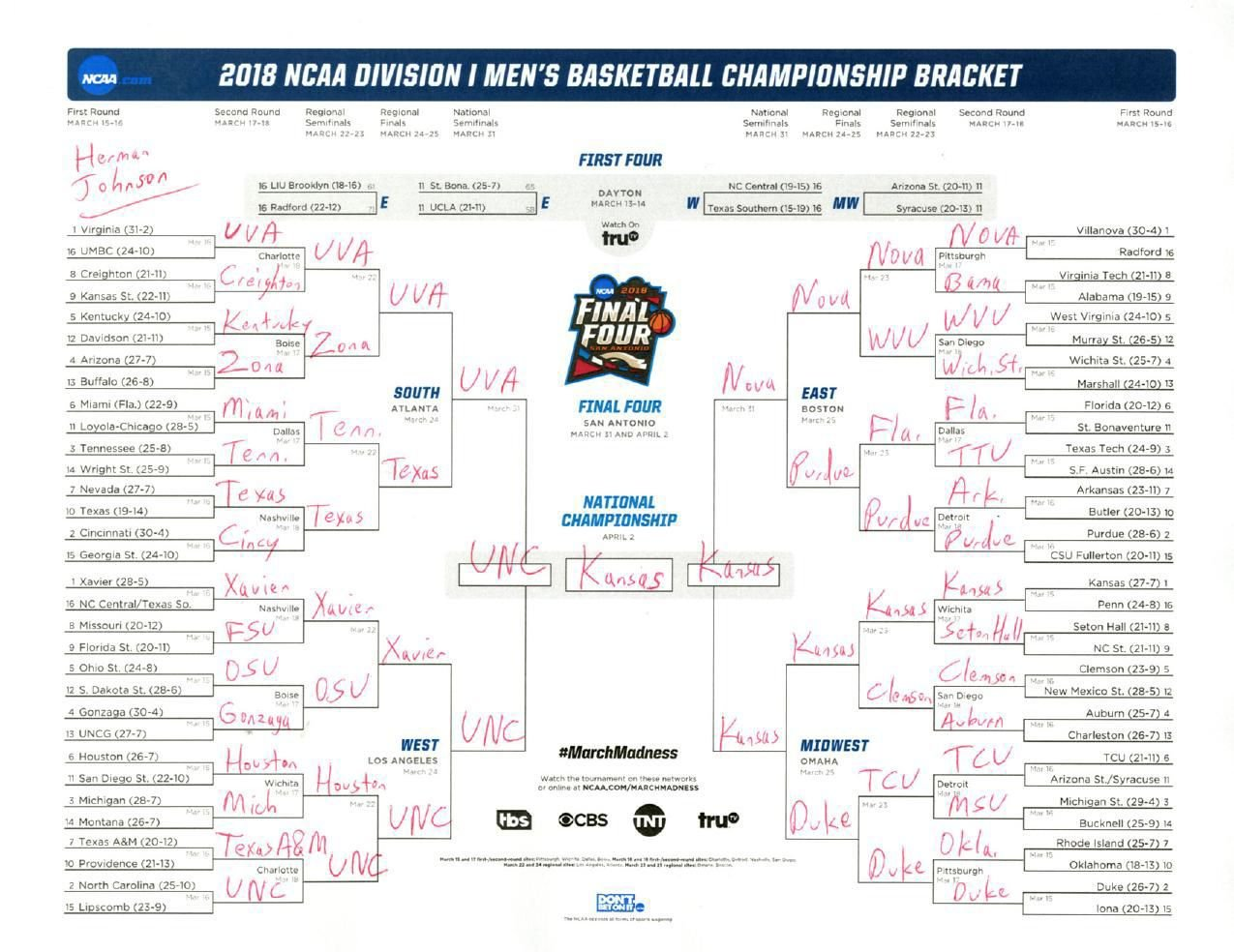 March Madness 2019 Brackets Leon Seattlebaby Co