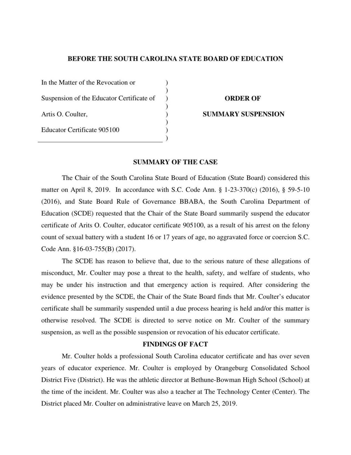 Coulter-Artis-O order of suspended teaching certificate