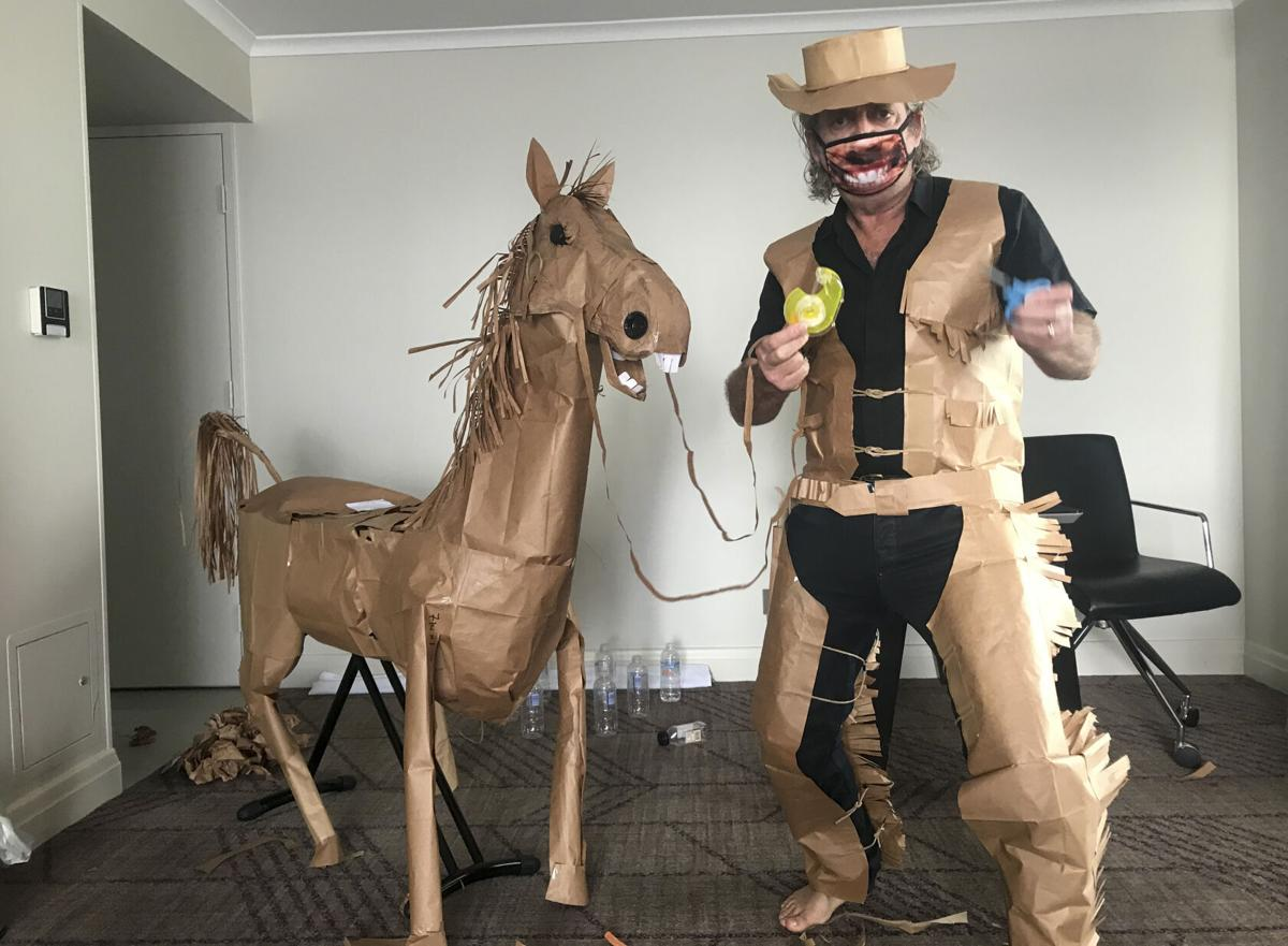 A paper cowboy rides out his quarantine in Australian hotel