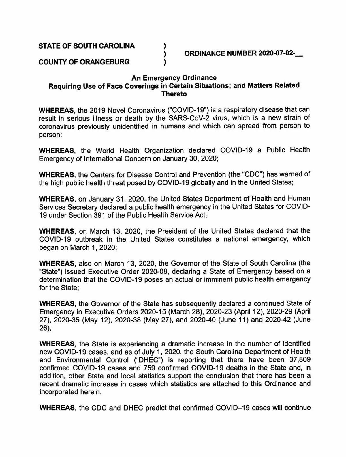 Emergency Ordinance Orangeburg County Face Coverings