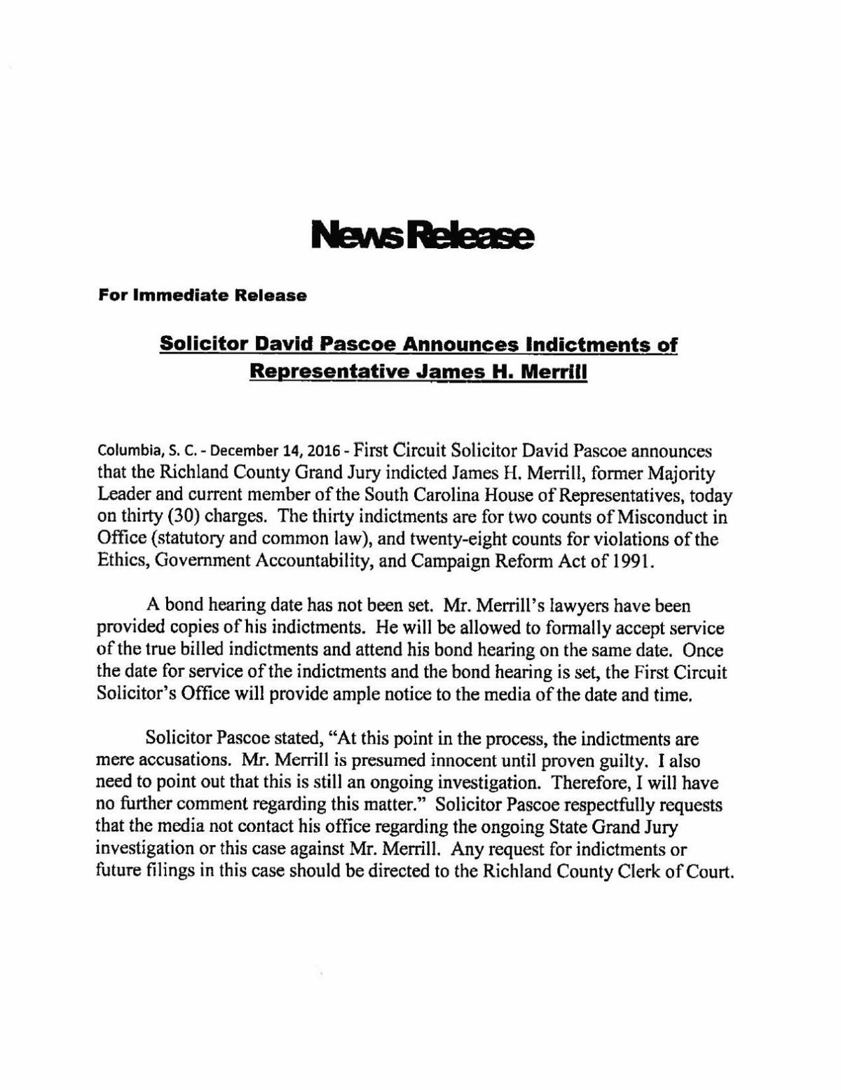 Press Release and Indictments on James H  Merrill | | thetandd com