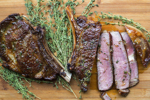 ribeye steaks with thyme-garlic butter