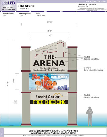 1215 The Arena sign