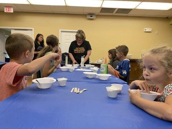 Lynn Camp teacher creates cloud dough slime with students