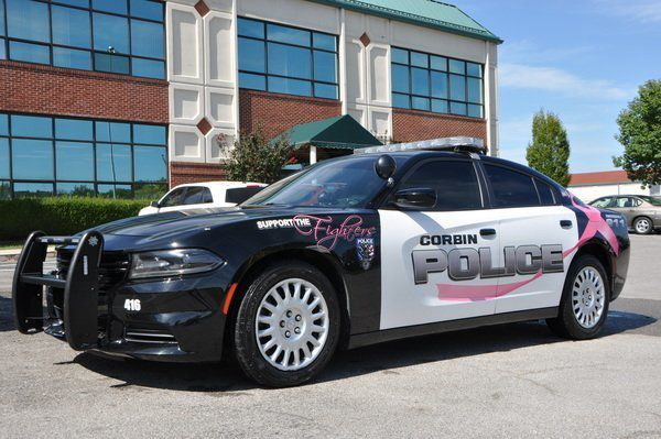 A touch of pink on Corbin PD car to raise breast cancer awareness