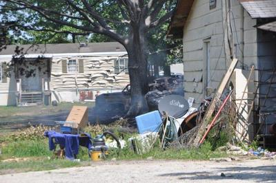 Mobile home falls in after Monday morning fire