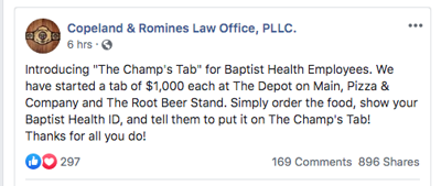 The Champ S Tab Open For Baptist Health Corbin Employees