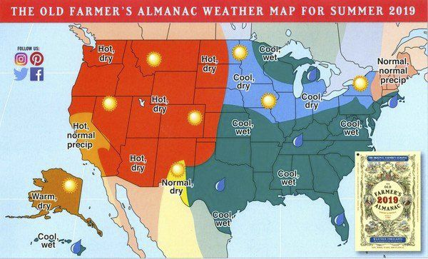 Old Farmer's Almanac predicts cooler, wetter 2019
