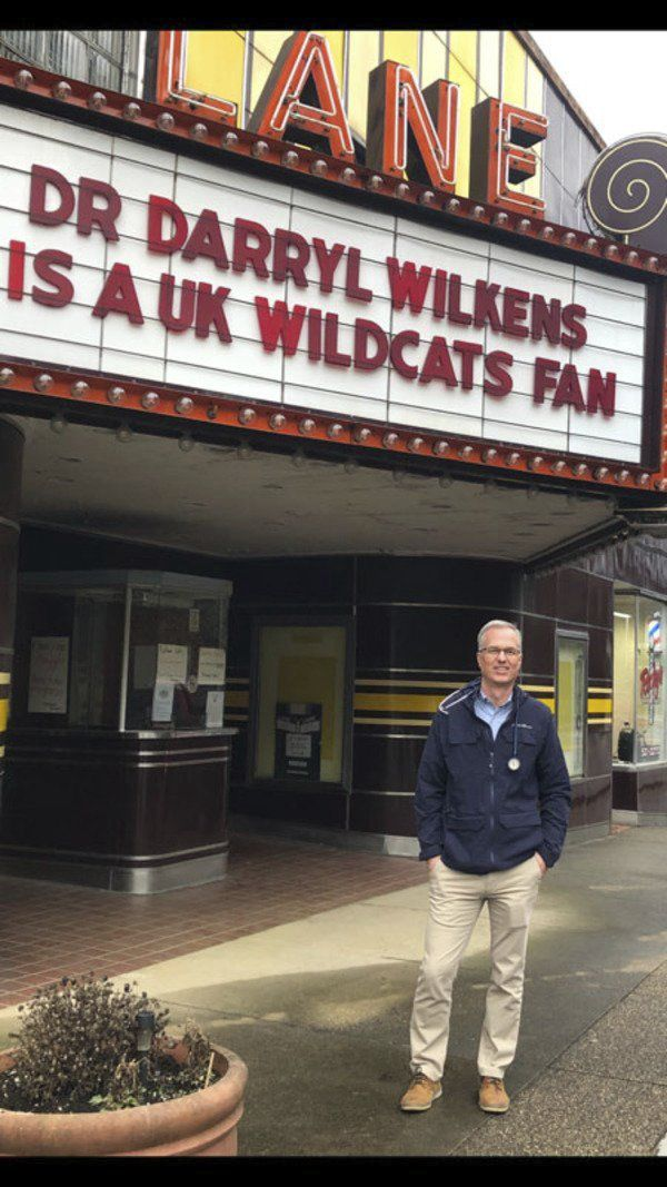 Doctor's staff pranks him with Lane Theater sign