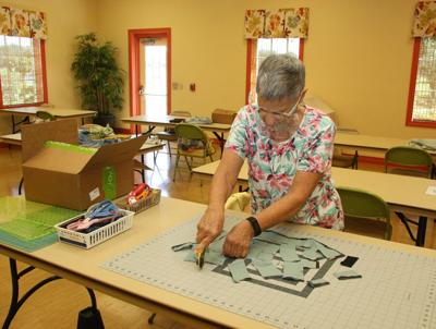 Going to the dogs: fabric scraps replace table ones for shelters