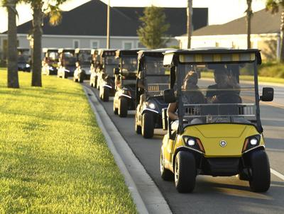 Golf carts get us there