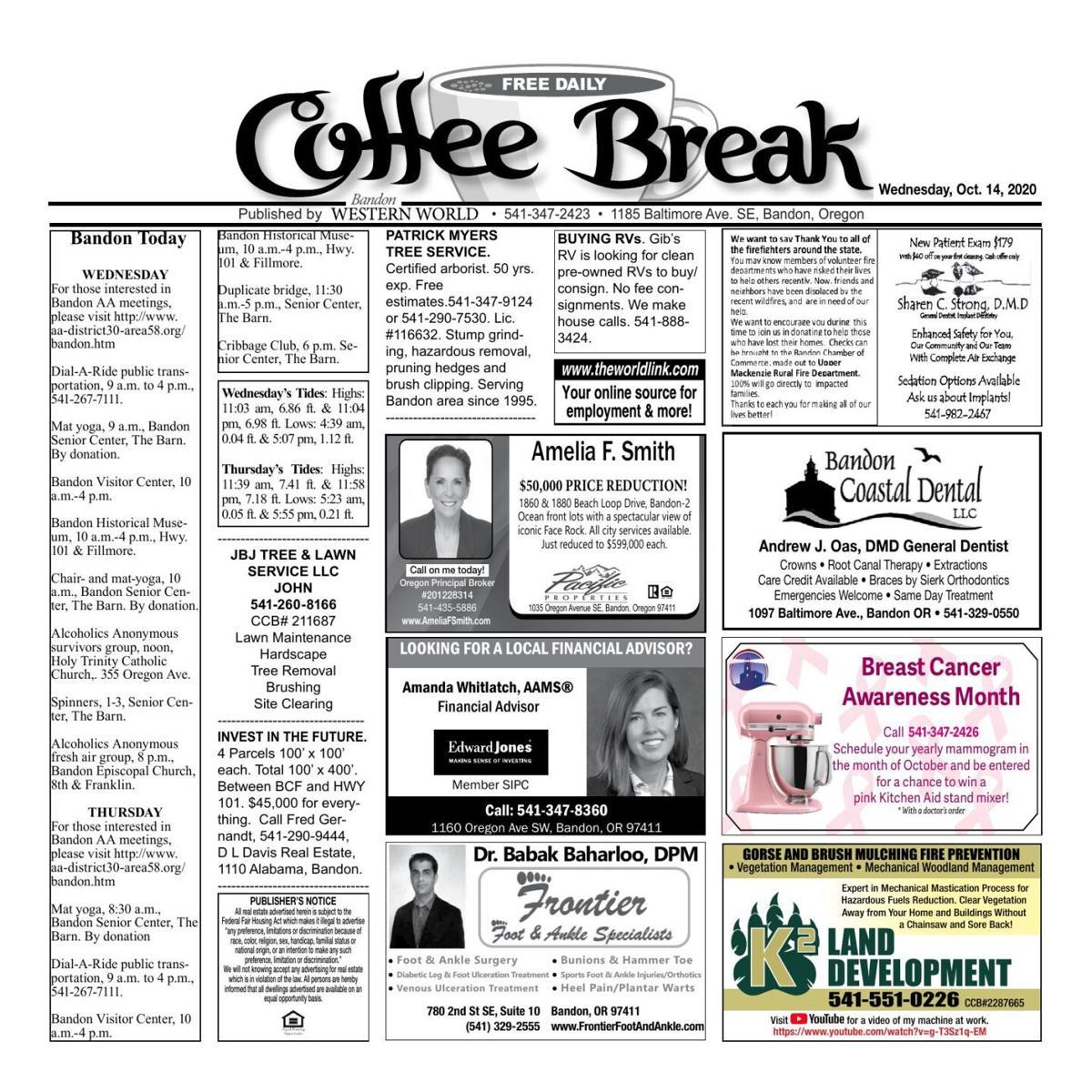 Oct. 14, 2020 Coffee Break